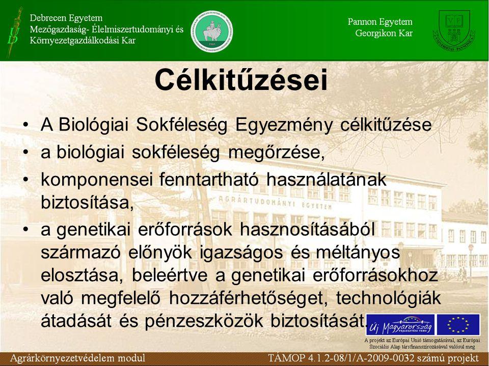 Célkitűzései A Biológiai Sokféleség Egyezmény célkitűzése a biológiai sokféleség megőrzése, komponensei fenntartható használatának biztosítása, a gene