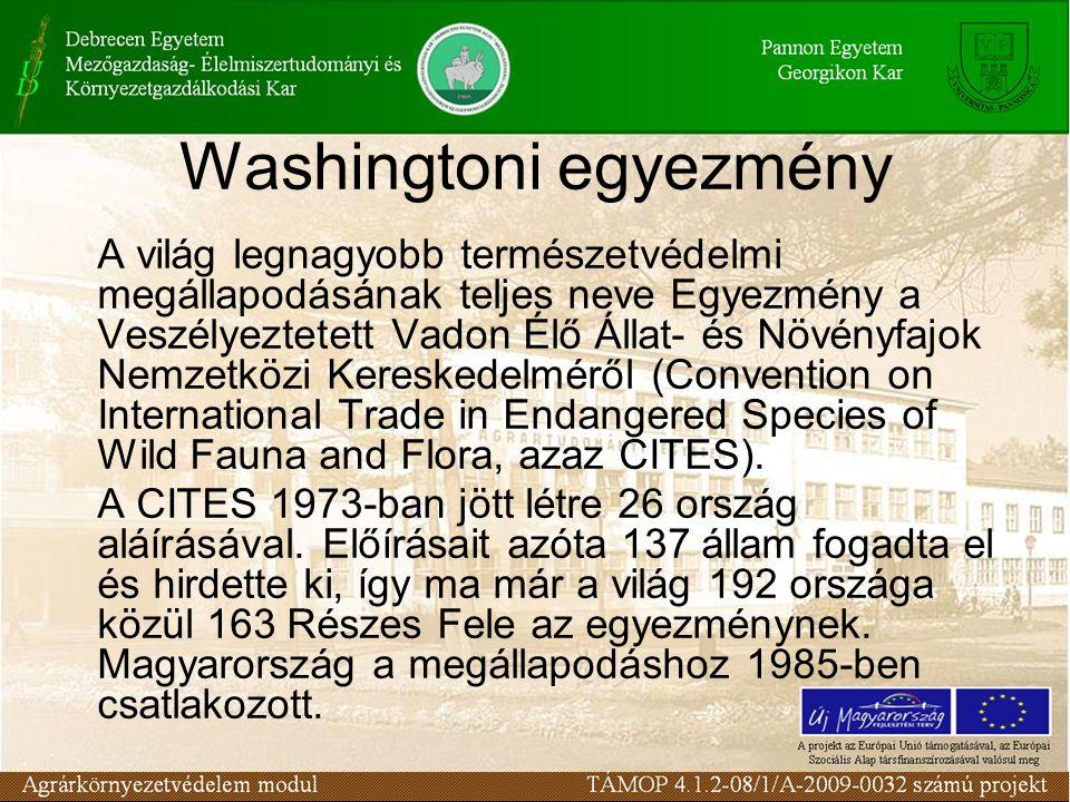 Washingtoni egyezmény A világ legnagyobb természetvédelmi megállapodásának teljes neve Egyezmény a Veszélyeztetett Vadon Élő Állat- és Növényfajok Nem
