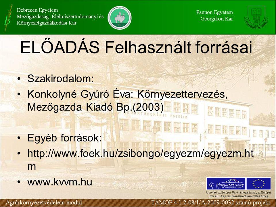 ELŐADÁS Felhasznált forrásai Szakirodalom: Konkolyné Gyúró Éva: Környezettervezés, Mezőgazda Kiadó Bp.(2003) Egyéb források: http://www.foek.hu/zsibon