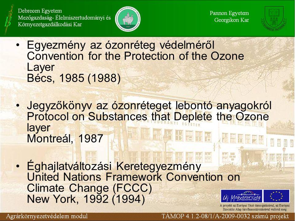 Egyezmény az ózonréteg védelméről Convention for the Protection of the Ozone Layer Bécs, 1985 (1988) Jegyzőkönyv az ózonréteget lebontó anyagokról Pro