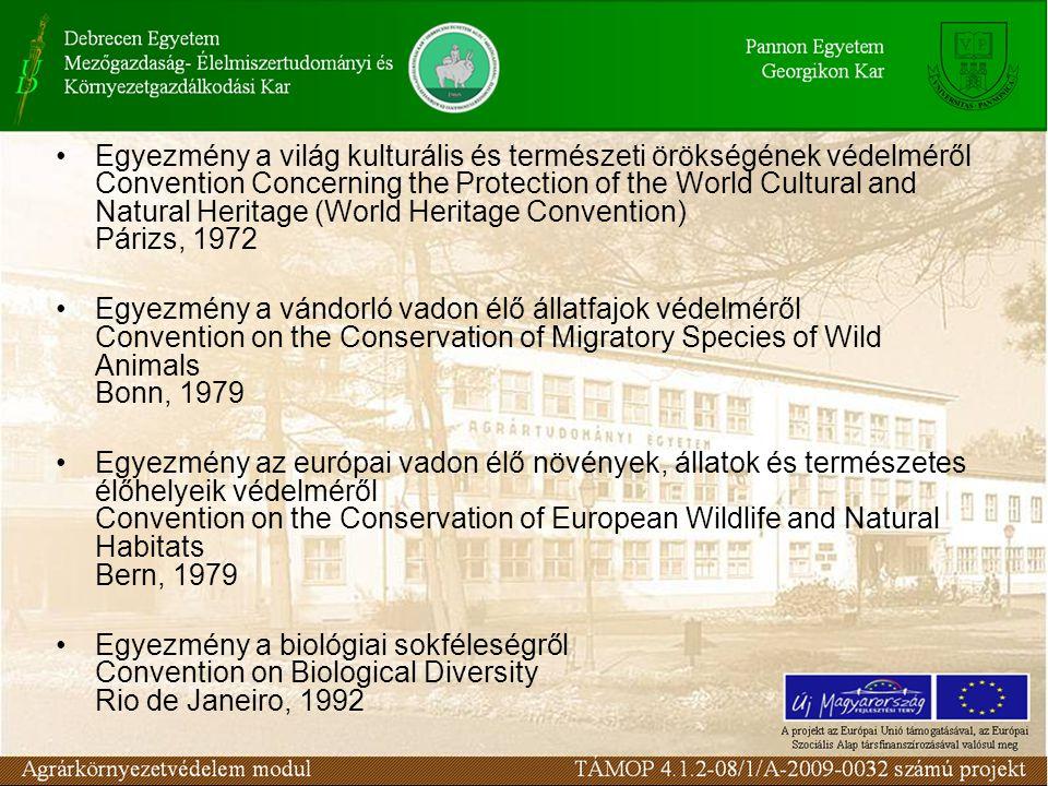 Egyezmények a környezet állapotát befolyásoló tevékenységekről Légköri, kozmikus és víz alatti nukleáris kísérleteket tiltó szerződés Treaty Banning Nuclear Weapon Tests in the Atmosphere, in Outer Space and Under Water Moszkva, 1963 Egyezmény a veszélyeztetett vadon élő állat és növényfajok nemzetközi kereskedelméről Convention on International Trade in Endangered Species of Wild Fauna and Flora (CITES) Washington, 1973 Egyezmény a katonai eszközök kömyezetmódosító alkalmazásának betiltásáról Convention on the Prohibition of Military or any other Hostile Use of Envronmental Modification Technigues Genf, 1977
