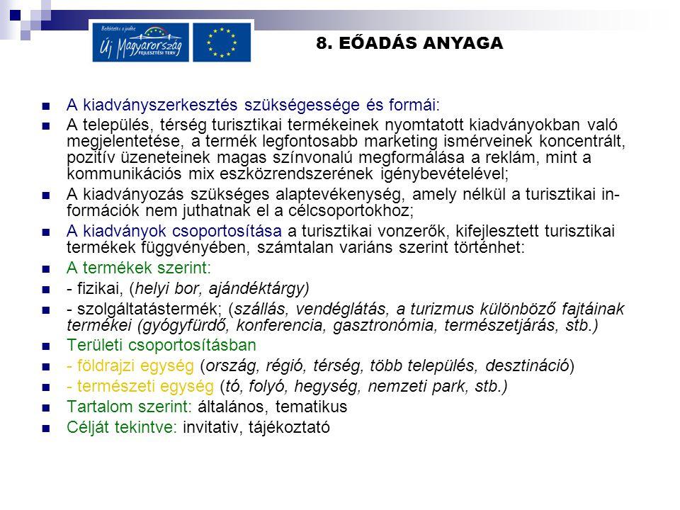 8. EŐADÁS ANYAGA A kiadványszerkesztés szükségessége és formái: A település, térség turisztikai termékeinek nyomtatott kiadványokban való megjelenteté