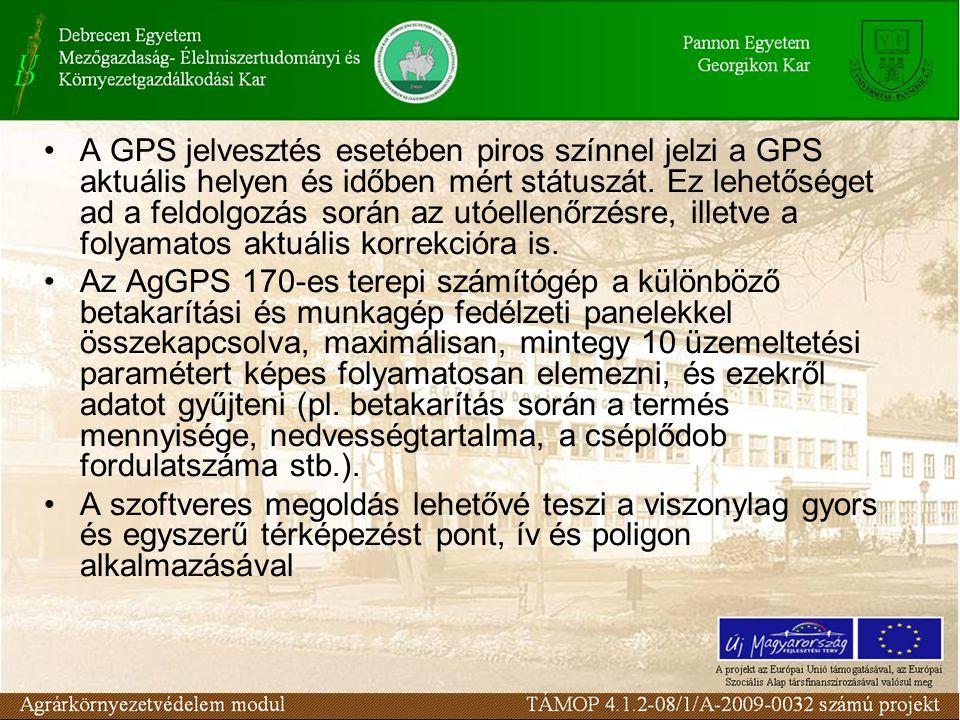 A GPS jelvesztés esetében piros színnel jelzi a GPS aktuális helyen és időben mért státuszát.