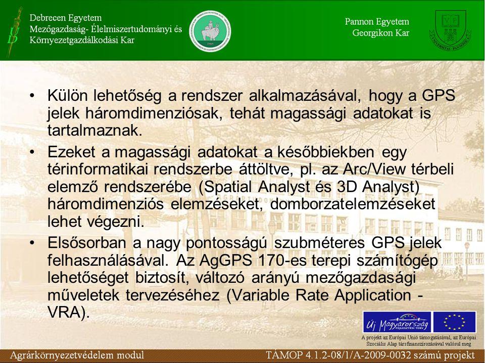 Külön lehetőség a rendszer alkalmazásával, hogy a GPS jelek háromdimenziósak, tehát magassági adatokat is tartalmaznak.