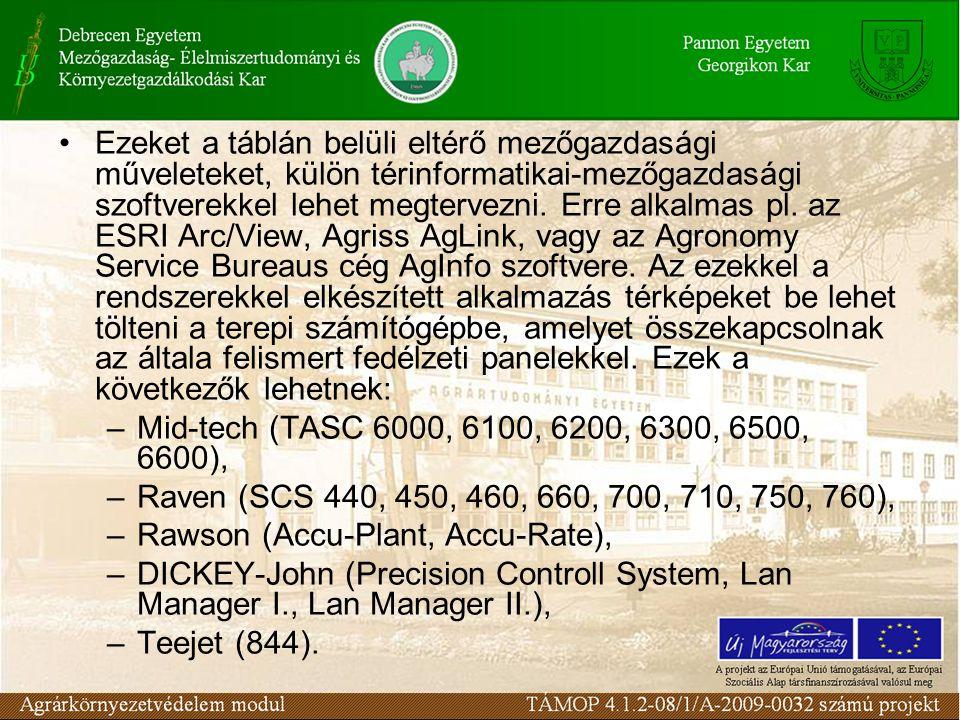 Ezeket a táblán belüli eltérő mezőgazdasági műveleteket, külön térinformatikai-mezőgazdasági szoftverekkel lehet megtervezni.
