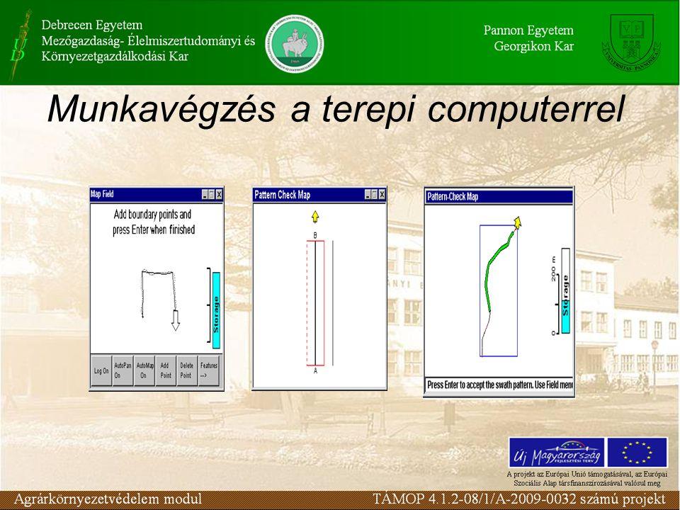 A rendszer lehetővé teszi a mintavételi pontokra történő navigálást, azaz ráállást.