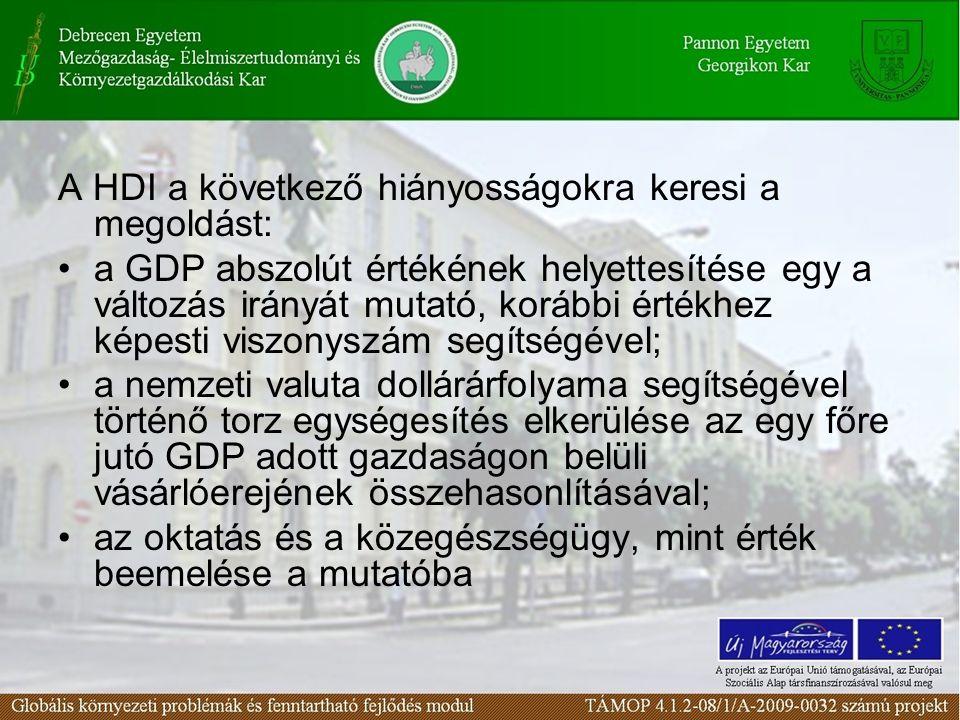 A HDI a következő hiányosságokra keresi a megoldást: a GDP abszolút értékének helyettesítése egy a változás irányát mutató, korábbi értékhez képesti v
