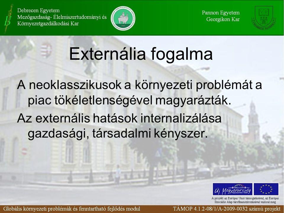 Externália fogalma A neoklasszikusok a környezeti problémát a piac tökéletlenségével magyarázták. Az externális hatások internalizálása gazdasági, tár