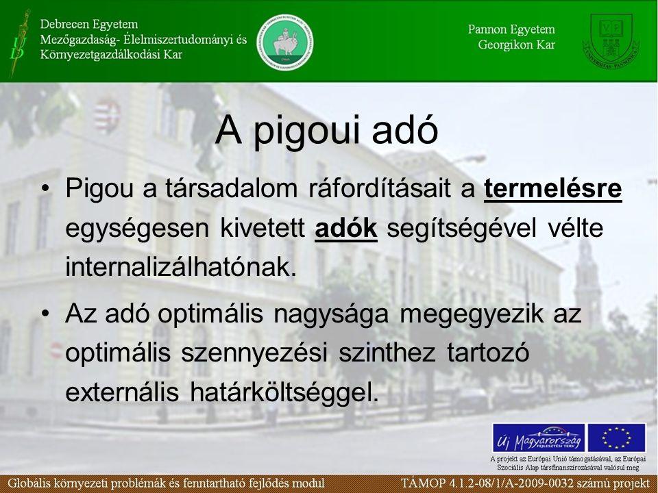 A pigoui adó Pigou a társadalom ráfordításait a termelésre egységesen kivetett adók segítségével vélte internalizálhatónak. Az adó optimális nagysága