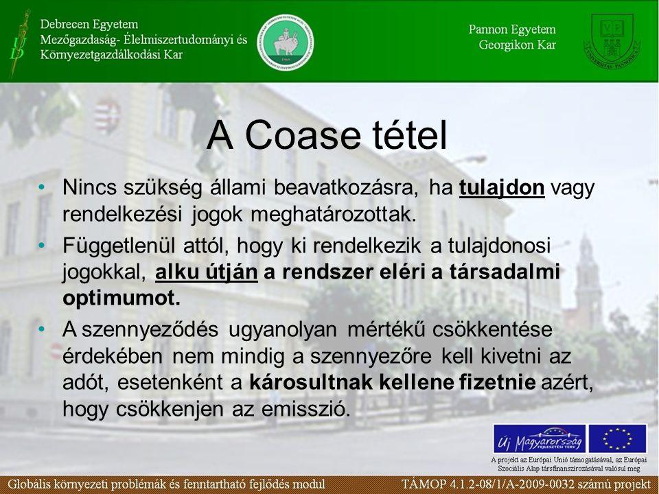 A Coase tétel Nincs szükség állami beavatkozásra, ha tulajdon vagy rendelkezési jogok meghatározottak. Függetlenül attól, hogy ki rendelkezik a tulajd