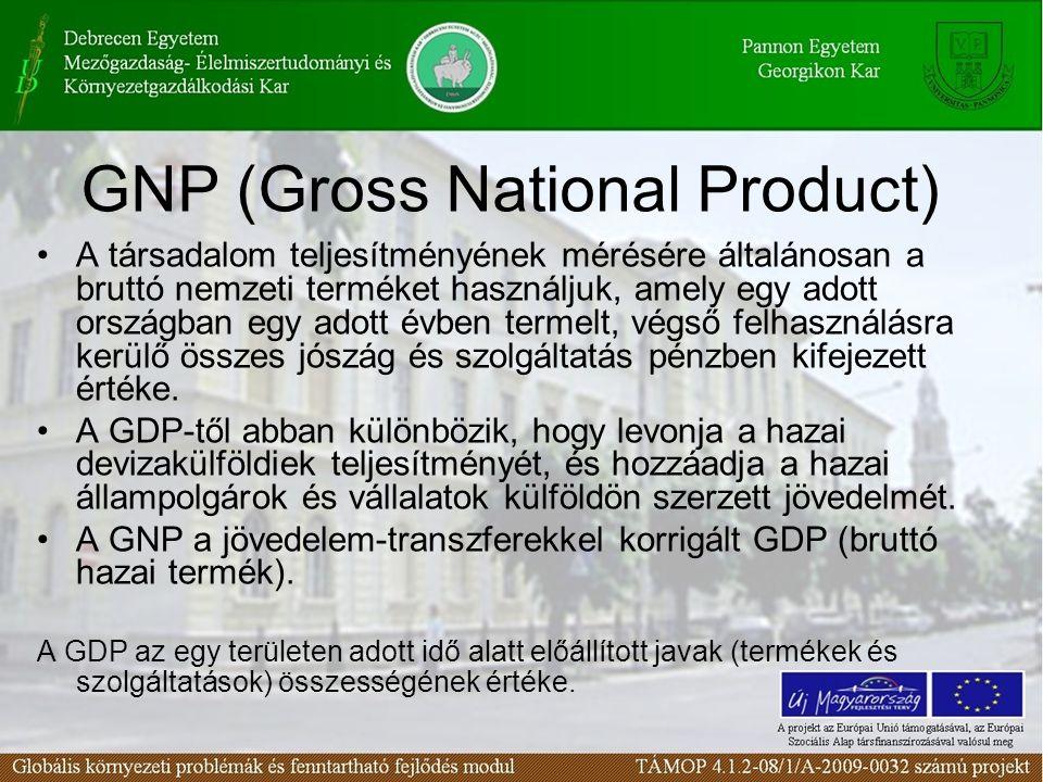 GNP (Gross National Product) A társadalom teljesítményének mérésére általánosan a bruttó nemzeti terméket használjuk, amely egy adott országban egy ad