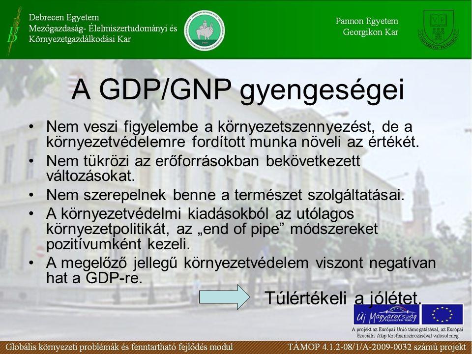A GDP/GNP gyengeségei Nem veszi figyelembe a környezetszennyezést, de a környezetvédelemre fordított munka növeli az értékét. Nem tükrözi az erőforrás