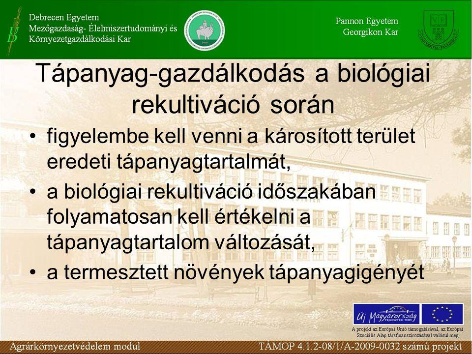 Tápanyag-gazdálkodás a biológiai rekultiváció során figyelembe kell venni a károsított terület eredeti tápanyagtartalmát, a biológiai rekultiváció idő