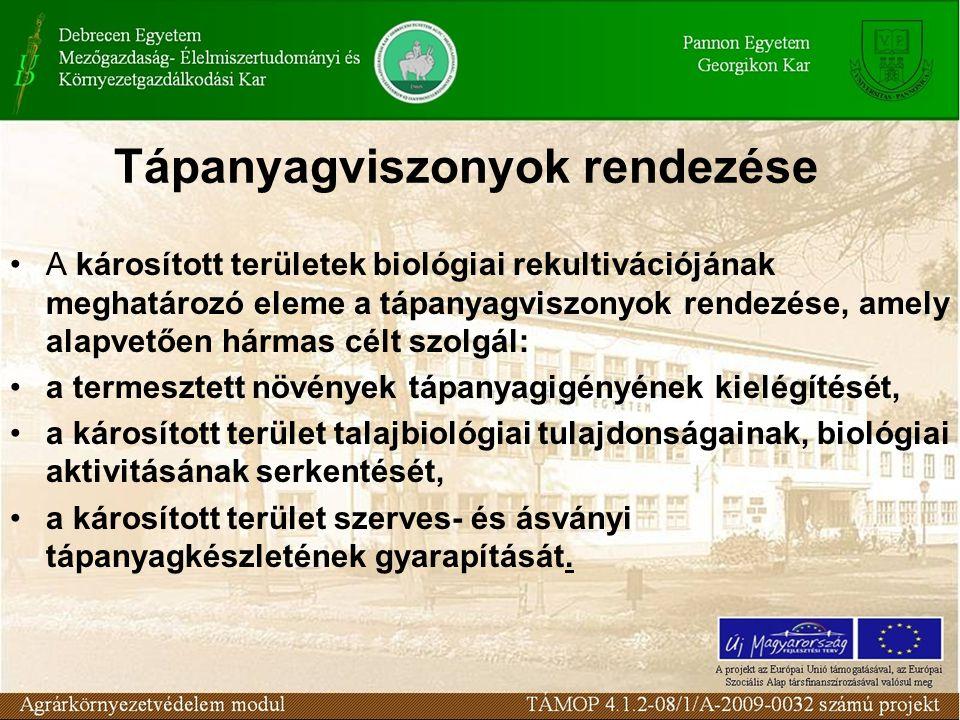 Tápanyagviszonyok rendezése A károsított területek biológiai rekultivációjának meghatározó eleme a tápanyagviszonyok rendezése, amely alapvetően hárma