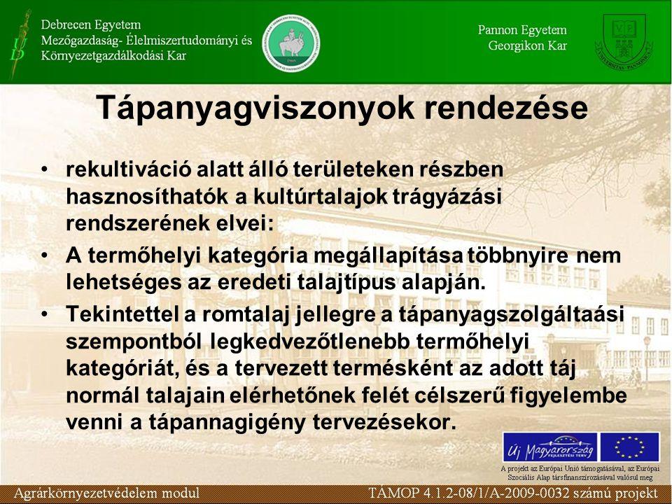 Tápanyagviszonyok rendezése rekultiváció alatt álló területeken részben hasznosíthatók a kultúrtalajok trágyázási rendszerének elvei: A termőhelyi kat