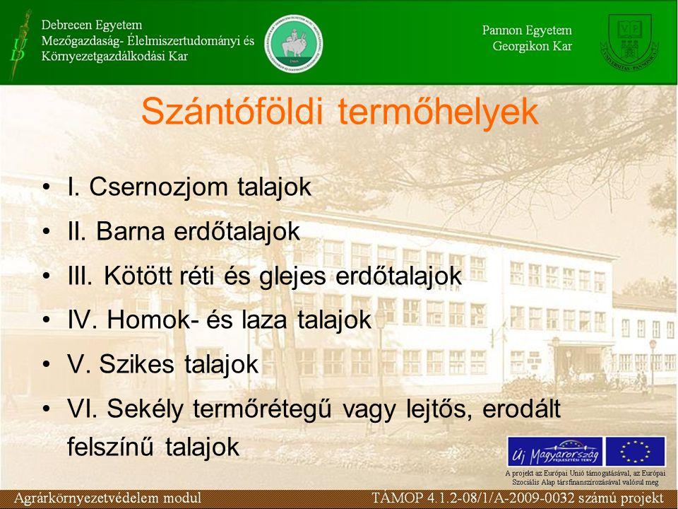 Szántóföldi termőhelyek I. Csernozjom talajok II. Barna erdőtalajok III. Kötött réti és glejes erdőtalajok IV. Homok- és laza talajok V. Szikes talajo