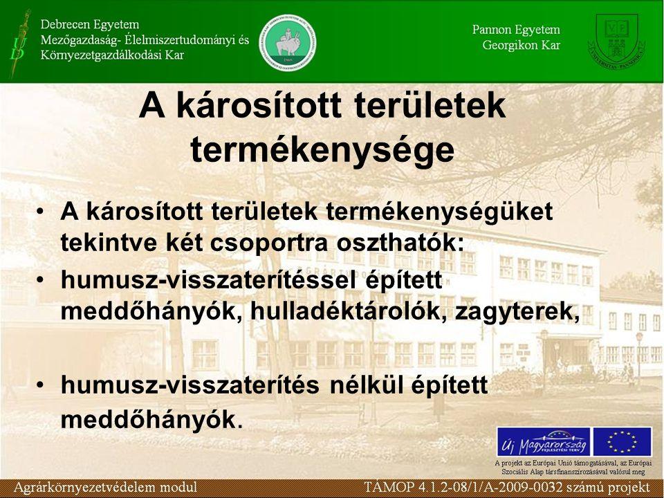 A károsított területek termékenysége A károsított területek termékenységüket tekintve két csoportra oszthatók: humusz-visszaterítéssel épített meddőhá