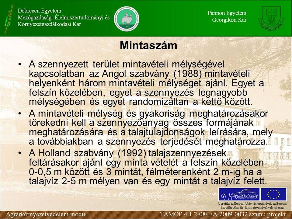 A szennyezett terület mintavételi mélységével kapcsolatban az Angol szabvány (1988) mintavételi helyenként három mintavételi mélységet ajánl.