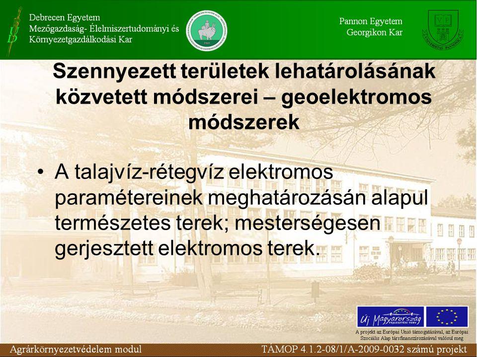 A talajvíz-rétegvíz elektromos paramétereinek meghatározásán alapul természetes terek; mesterségesen gerjesztett elektromos terek.