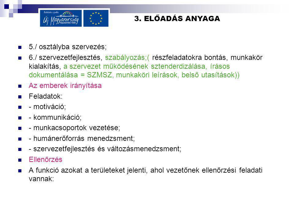3. ELŐADÁS ANYAGA 5./ osztályba szervezés; 6./ szervezetfejlesztés, szabályozás;( részfeladatokra bontás, munkakör kialakítás, a szervezet működésének