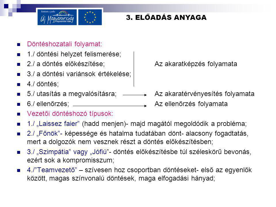3. ELŐADÁS ANYAGA Döntéshozatali folyamat: 1./ döntési helyzet felismerése; 2./ a döntés előkészítése; Az akaratképzés folyamata 3./ a döntési variáns