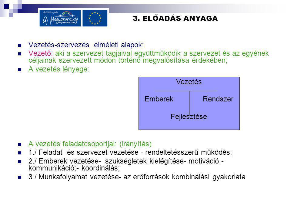 3. ELŐADÁS ANYAGA Vezetés-szervezés elméleti alapok: Vezető: aki a szervezet tagjaival együttműködik a szervezet és az egyének céljainak szervezett mó