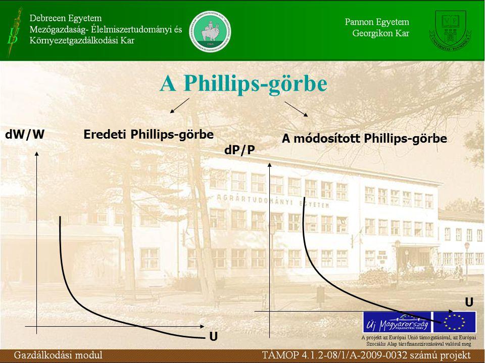 A Phillips-görbe dW/W U Eredeti Phillips-görbe A módosított Phillips-görbe dP/P U