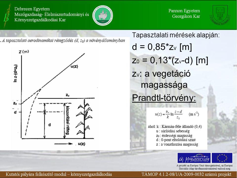 Tapasztalati mérések alapján: d = 0,85*z v [m] z 0 = 0,13*(z v -d) [m] z v : a vegetáció magassága Prandtl-törvény: