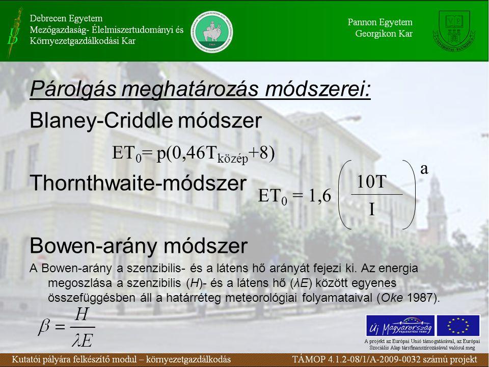 Párolgás meghatározás módszerei: Blaney-Criddle módszer Thornthwaite-módszer Bowen-arány módszer A Bowen-arány a szenzibilis- és a látens hő arányát fejezi ki.