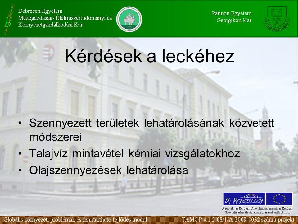 Szennyezett területek lehatárolásának közvetett módszerei Talajvíz mintavétel kémiai vizsgálatokhoz Olajszennyezések lehatárolása Kérdések a leckéhez