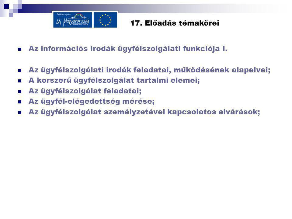 17.Előadás témakörei Az információs irodák ügyfélszolgálati funkciója I.