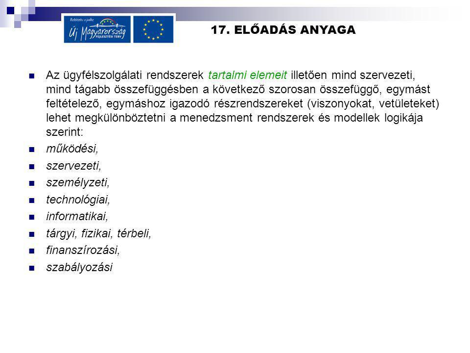 17. ELŐADÁS ANYAGA Az ügyfélszolgálati rendszerek tartalmi elemeit illetően mind szervezeti, mind tágabb összefüggésben a következő szorosan összefügg