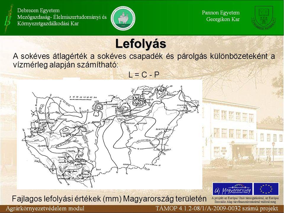 Fajlagos lefolyási értékek (mm) Magyarország területén A sokéves átlagérték a sokéves csapadék és párolgás különbözeteként a vízmérleg alapján számítható: L = C - P Lefolyás