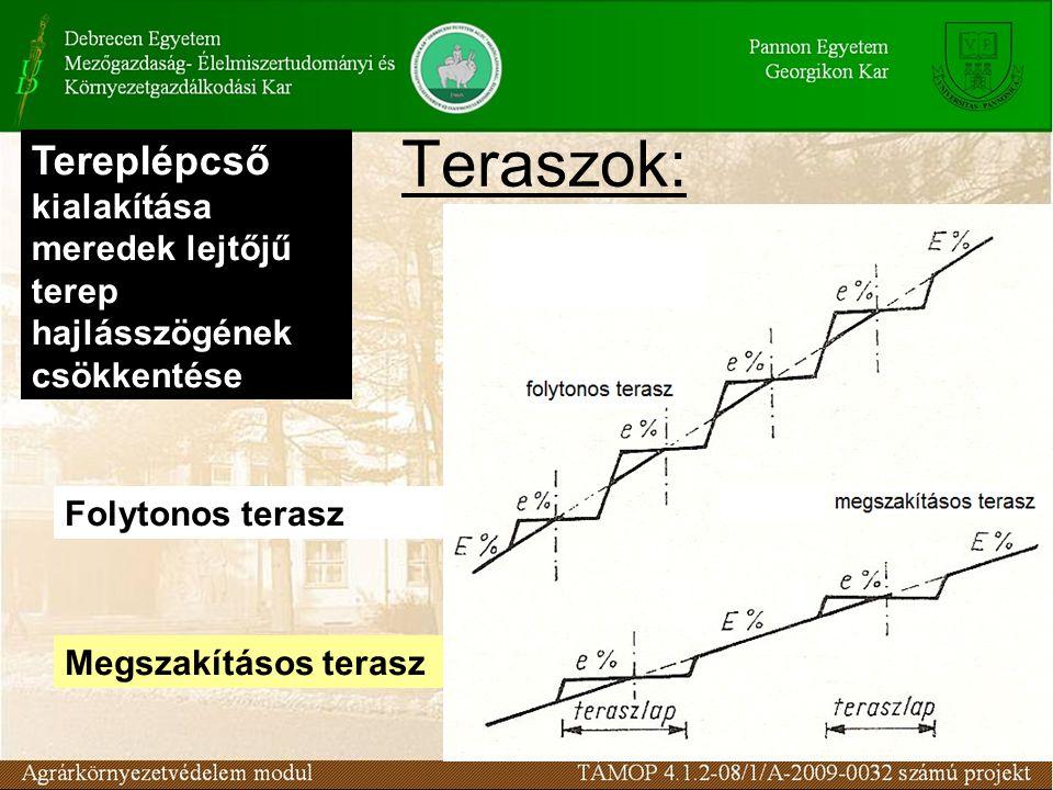 Teraszok: Tereplépcső kialakítása meredek lejtőjű terep hajlásszögének csökkentése Folytonos terasz Megszakításos terasz