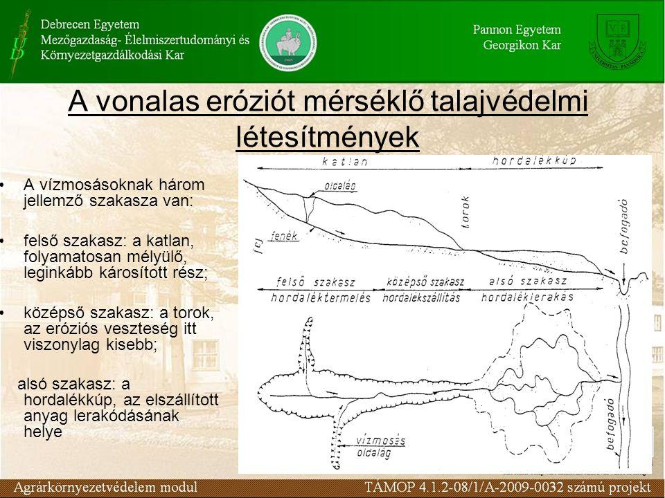 A vonalas eróziót mérséklő talajvédelmi létesítmények A vízmosásoknak három jellemző szakasza van: felső szakasz: a katlan, folyamatosan mélyülő, leginkább károsított rész; középső szakasz: a torok, az eróziós veszteség itt viszonylag kisebb; alsó szakasz: a hordalékkúp, az elszállított anyag lerakódásának helye