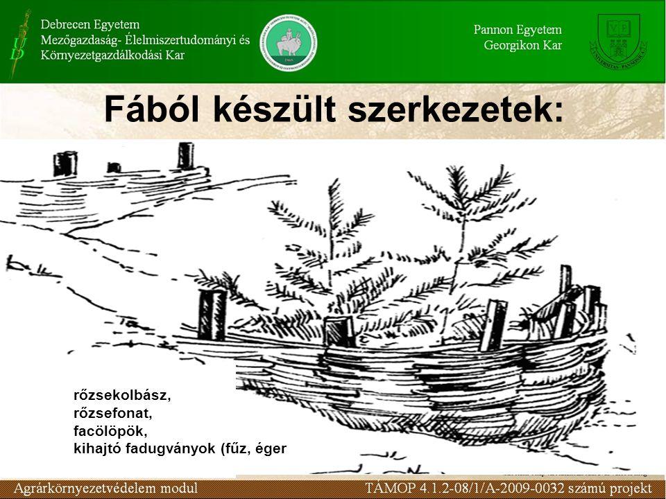 Fából készült szerkezetek: fából készült szerkezetek: rőzsekolbász, rőzsefonat, facölöpök, kihajtó fadugványok (fűz, éger).