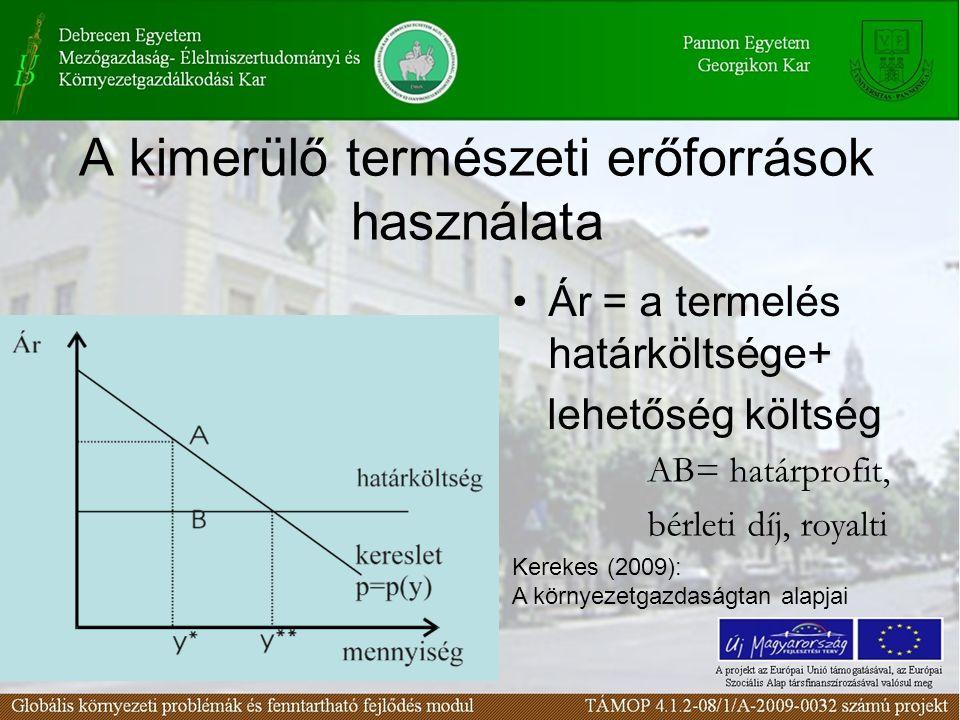 A kimerülő természeti erőforrások használata Ár = a termelés határköltsége+ lehetőség költség AB= határprofit, bérleti díj, royalti Kerekes (2009): A