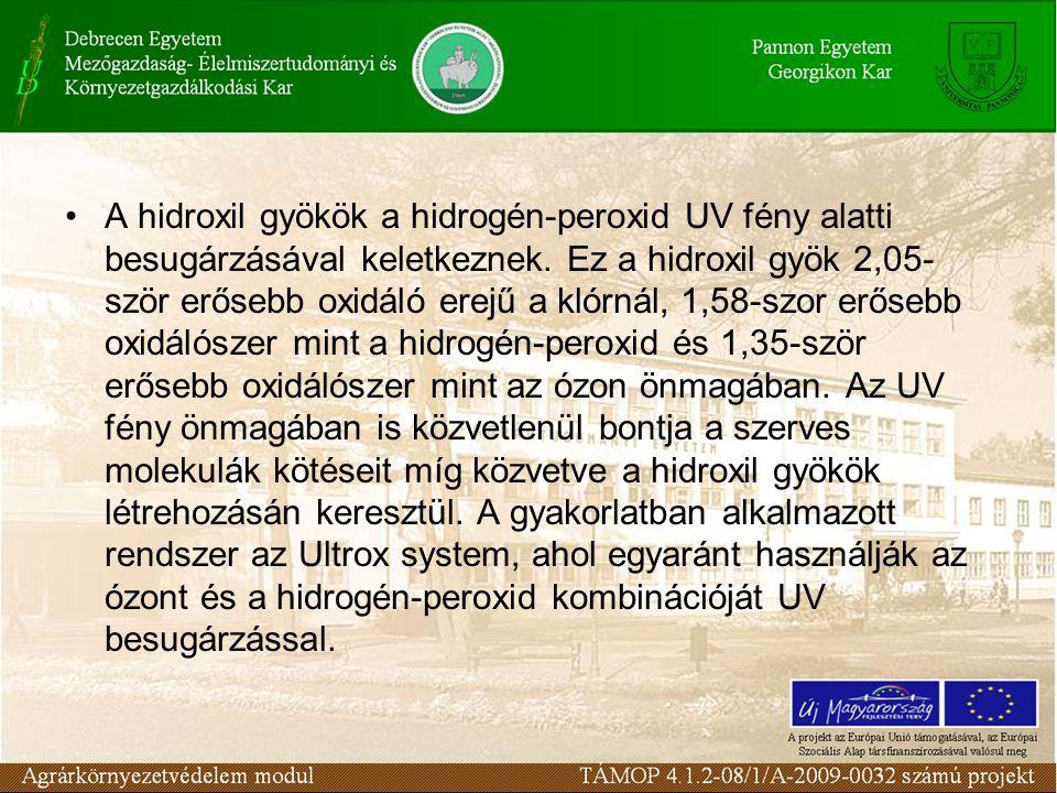 A hidroxil gyökök a hidrogén-peroxid UV fény alatti besugárzásával keletkeznek.