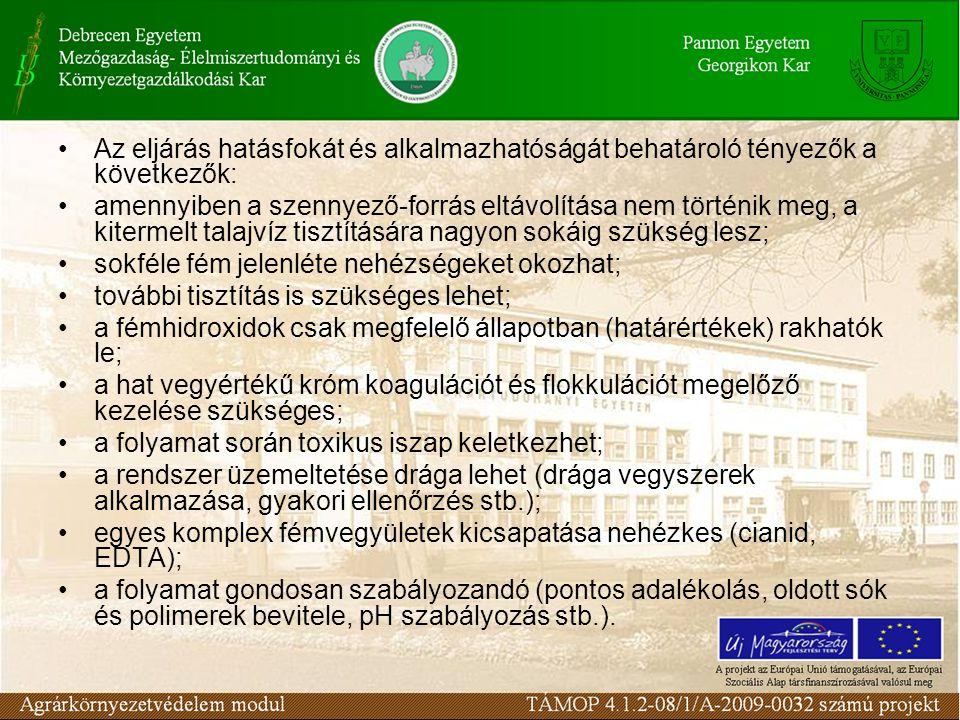 Az eljárás hatásfokát és alkalmazhatóságát behatároló tényezők a következők: amennyiben a szennyező-forrás eltávolítása nem történik meg, a kitermelt talajvíz tisztítására nagyon sokáig szükség lesz; sokféle fém jelenléte nehézségeket okozhat; további tisztítás is szükséges lehet; a fémhidroxidok csak megfelelő állapotban (határértékek) rakhatók le; a hat vegyértékű króm koagulációt és flokkulációt megelőző kezelése szükséges; a folyamat során toxikus iszap keletkezhet; a rendszer üzemeltetése drága lehet (drága vegyszerek alkalmazása, gyakori ellenőrzés stb.); egyes komplex fémvegyületek kicsapatása nehézkes (cianid, EDTA); a folyamat gondosan szabályozandó (pontos adalékolás, oldott sók és polimerek bevitele, pH szabályozás stb.).