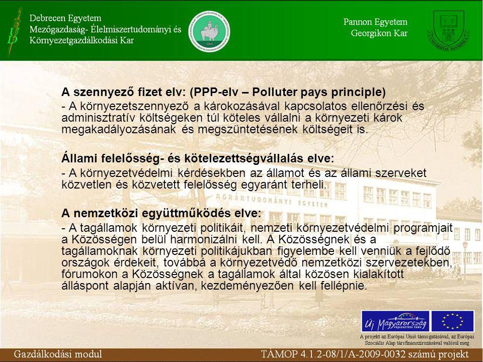 A szennyező fizet elv: (PPP-elv – Polluter pays principle) - A környezetszennyező a károkozásával kapcsolatos ellenőrzési és adminisztratív költségeken túl köteles vállalni a környezeti károk megakadályozásának és megszüntetésének költségeit is.