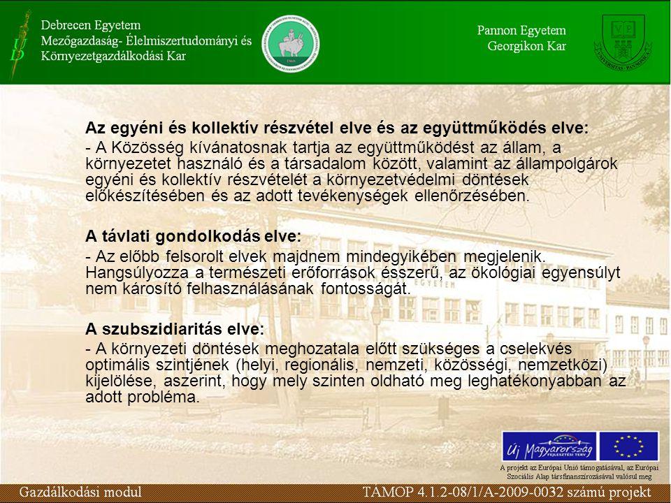 Az egyéni és kollektív részvétel elve és az együttműködés elve: - A Közösség kívánatosnak tartja az együttműködést az állam, a környezetet használó és a társadalom között, valamint az állampolgárok egyéni és kollektív részvételét a környezetvédelmi döntések előkészítésében és az adott tevékenységek ellenőrzésében.