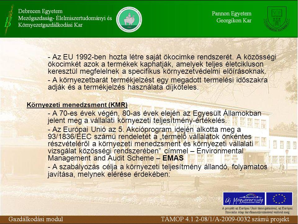 - Az EU 1992-ben hozta létre saját ökocimke rendszerét.