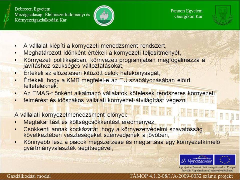 A vállalat kiépíti a környezeti menedzsment rendszert, Meghatározott időnként értékeli a környezeti teljesítményét, Környezeti politikájában, környezeti programjában megfogalmazza a javításhoz szükséges változtatásokat, Értékeli az előzetesen kitűzött célok hatékonyságát, Értékeli, hogy a KMR megfelel-e az EU szabályozásában előírt feltételeknek.