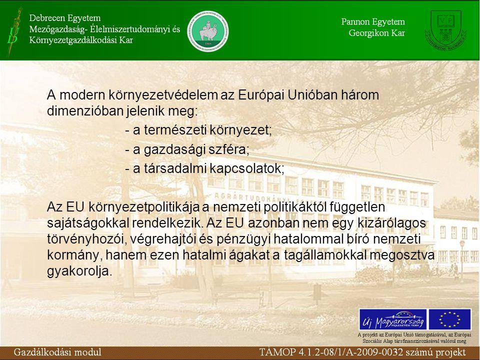A modern környezetvédelem az Európai Unióban három dimenzióban jelenik meg: - a természeti környezet; - a gazdasági szféra; - a társadalmi kapcsolatok; Az EU környezetpolitikája a nemzeti politikáktól független sajátságokkal rendelkezik.