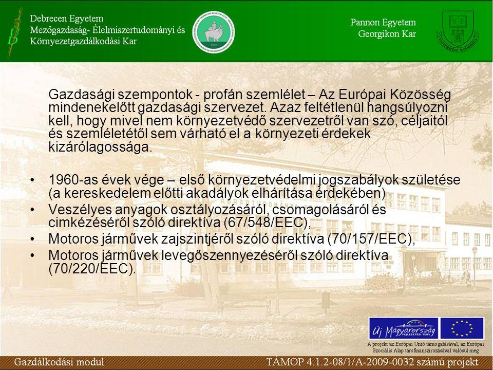 Gazdasági szempontok - profán szemlélet – Az Európai Közösség mindenekelőtt gazdasági szervezet.