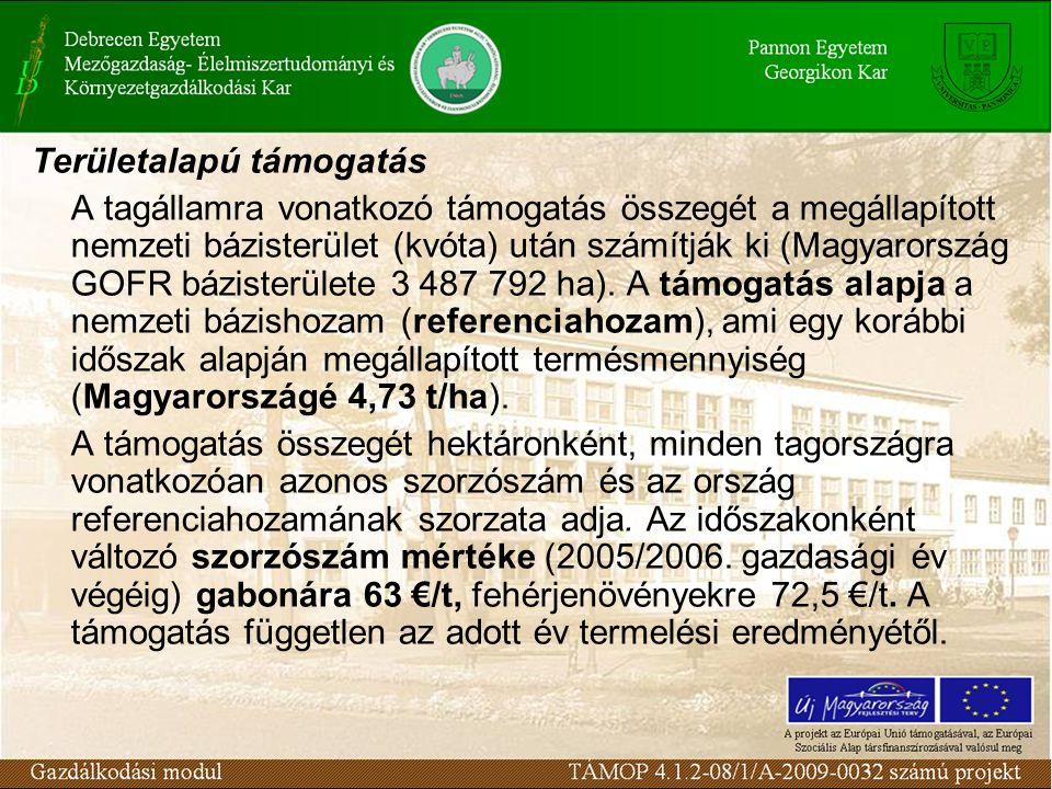 Területalapú támogatás A tagállamra vonatkozó támogatás összegét a megállapított nemzeti bázisterület (kvóta) után számítják ki (Magyarország GOFR báz