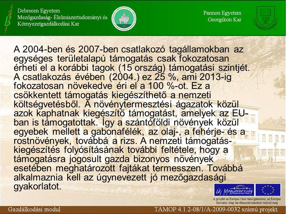 A 2004-ben és 2007-ben csatlakozó tagállamokban az egységes területalapú támogatás csak fokozatosan érheti el a korábbi tagok (15 ország) támogatási s
