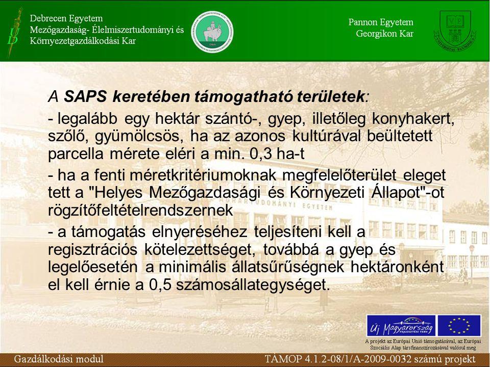 A SAPS keretében támogatható területek: - legalább egy hektár szántó-, gyep, illetőleg konyhakert, szőlő, gyümölcsös, ha az azonos kultúrával beültete