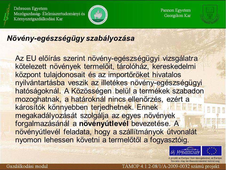 Növény-egészségügy szabályozása Az EU előírás szerint növény-egészségügyi vizsgálatra kötelezett növények termelőit, tárolóház, kereskedelmi központ t