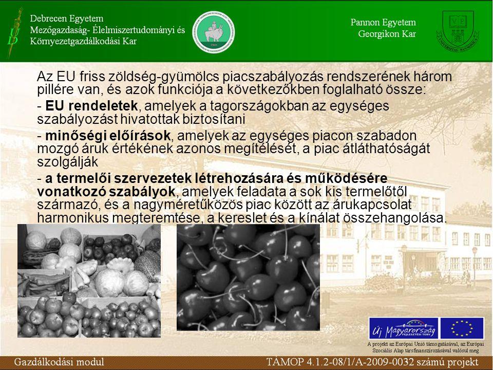 Az EU friss zöldség-gyümölcs piacszabályozás rendszerének három pillére van, és azok funkciója a következőkben foglalható össze: - EU rendeletek, amel